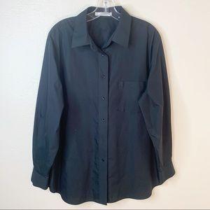 Foxcroft Wrinkle Free Black Button Down Shirt 14W